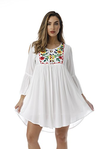 Riviera Sun Cold Shoulder Embroidered Short Dress with 3/4 Sleeve 21827-WHT-3X (Embroidered Floral Sundress)