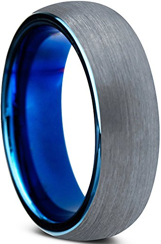 Tungsten Wedding Band Ring 6mm for Men Women Comfort Fit Blue Round Domed Brushed Lifetime Guarantee