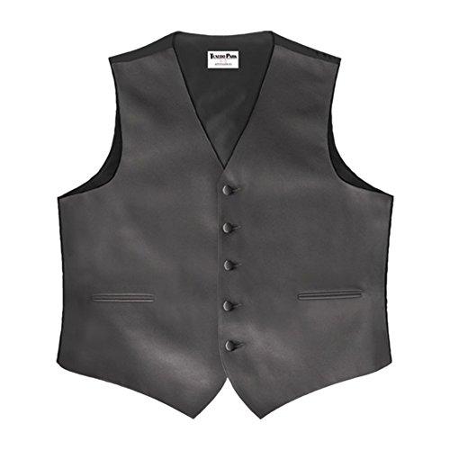 Charcoal Grey Satin 5 Button Full Back Vest