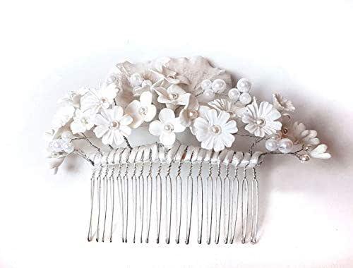Peineta Novia Adorno Flores Blancas para el Pelo -Flores Porcelana-cold porcelain Bride hair accessories-hair comb