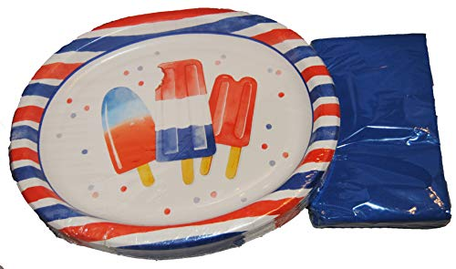 (Patriotic Red, White, and Blue Oval Buffet Plates and Buffet Napkins for 18)