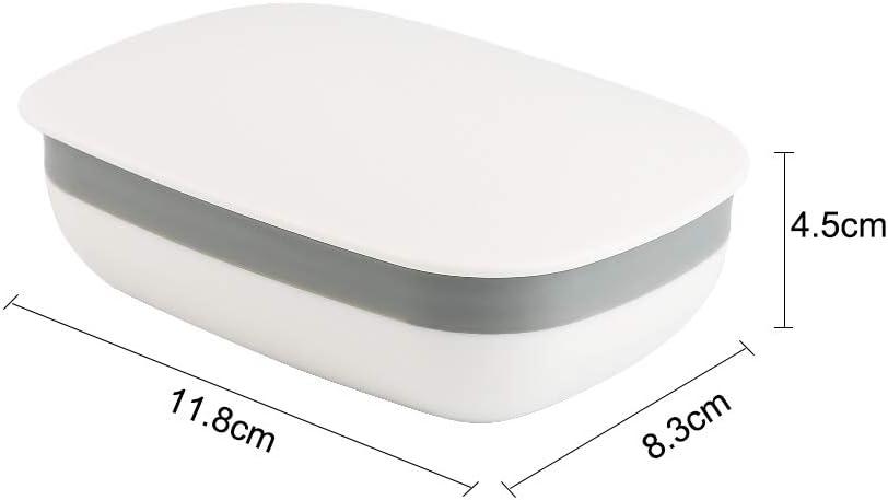 2 St/ück Seifenschalen Box mit Abdeckung f/ür Badezimmer Reise Vegena Seifendose Wei/ß