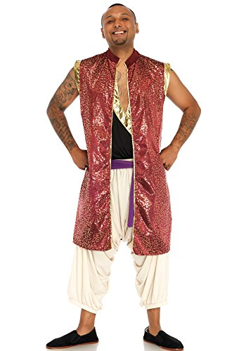 Leg Avenue Men's 2 Pc Arabian Prince Aladdin Costume, Multi, (Leg Avenue Arabian Princess Costume)