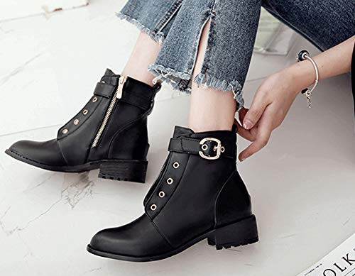 4cm Talon Moyen Femme Bouche Aisun Ronde Boots Noir Low Mode Bottines tfEInq