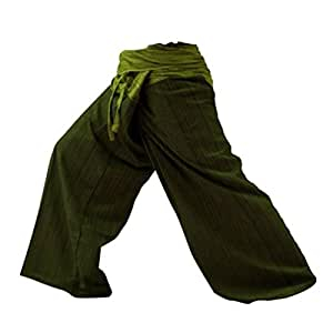 2 Tone Thai Fisherman Pants Yoga Trousers Free Size, Dark Green/ Green