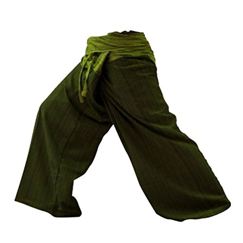 Thai Fisherman Pants Men's Yoga Trousers Dark Green and Green 2 Tone Pant