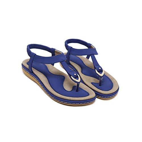 Eté Femme Confortable Fermeture Elastique Tong Plates Plat Bleu Casual Sandales Phorecys OwCRAPqA