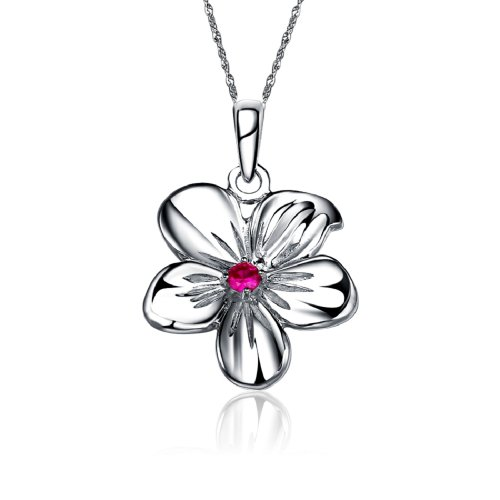 (Alpha Delta Pi Flower Silver Necklace with a 18
