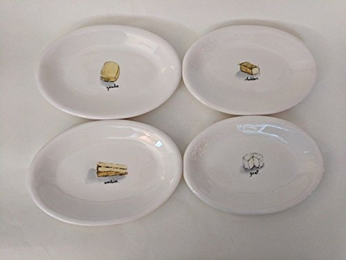 Rae Dunn Artisan Collection Set of 4 Oval Appetizer Plates / Dishes 8