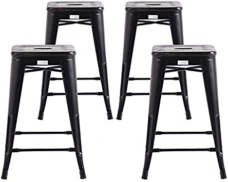 Buschman Set da 4 Sedie di Metallo con Seduta di Legno Premium  Colore Grigio Normale  per Interni ed Esterni Stile Rustico Design Vintage per Casa Giardino e Sala da Pranzo Altezza 61 cm