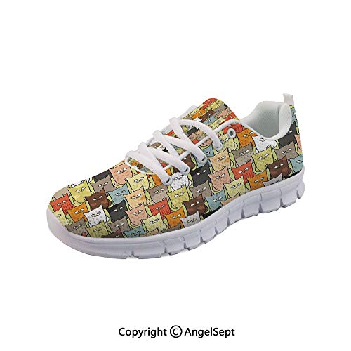 oobon Lightweight Casual Cute Colorful Graphic Kittens Boys Breathable Mesh Shoes