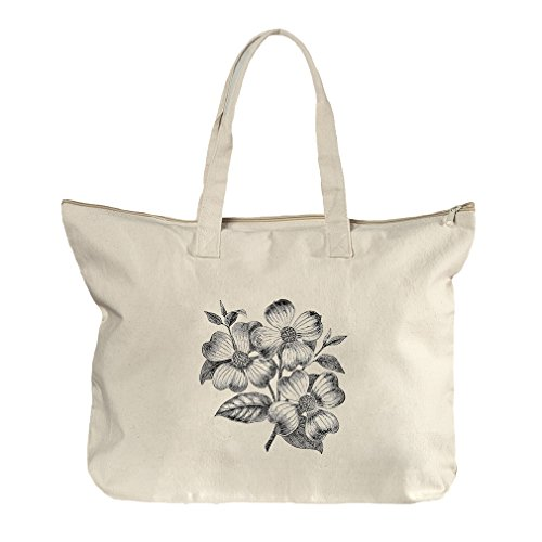Dogwood Flowers Vintage Look Canvas Beach Zipper Tote Bag - Dogwood Shopping Center