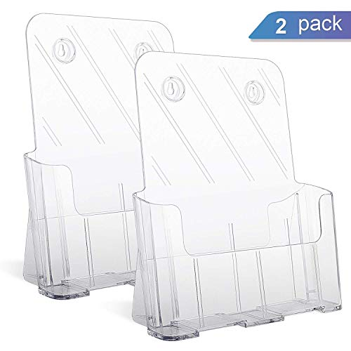 "Ktrio Acrylic Brochure Holder 8.5 x 11"" Plastic Acrylic Literature Holders Clear Flyer Holder Rack Card Holder, Magazine, Pamphlet, Booklet Display Stand Trifold Holder Desk or Wall Mount, 2 Pack"