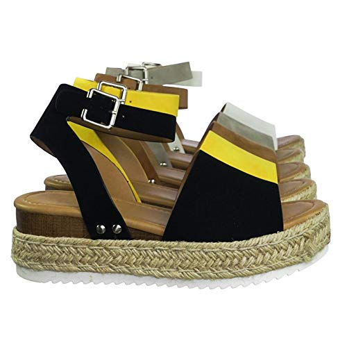 Soda Topic Black Casual Espadrilles Trim Rubber Sole Flatform Studded Wedge Buckle Ankle Strap Open Toe Sandals (10)