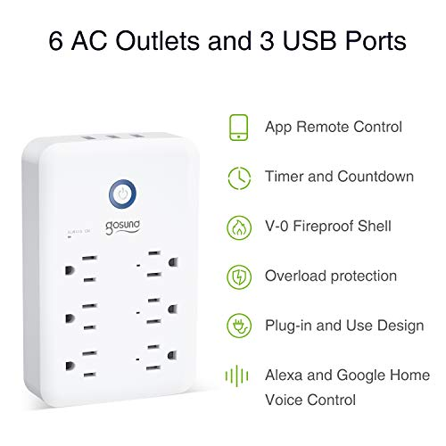 Smart Outlet, Gosund Wall Outlet Extender (15A/1800W), Multi WiFi Plug with 3 USB Ports (5V/3A 24W) and 6 Outlet Wall…