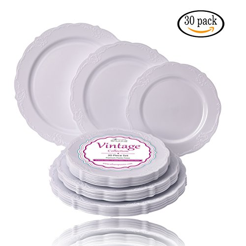 PARTY DISPOSABLE 30 PC DINNERWARE SET | 10 Dinner Plates | 10 Salad Plates | 10 Dessert Plates | Heavy Duty Disposable Plastic Dishes | Fine China Look (Vintage Collection–White)]()