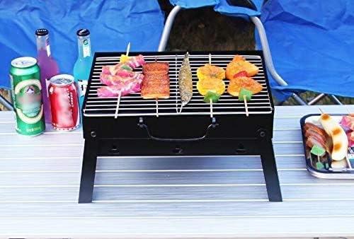 Barbecue pliable, barbecue pique-nique portable en plein air, barbecue en acier inoxydable givré grill, petit barbecue grill -35 * 27 * 20 NBHUYT