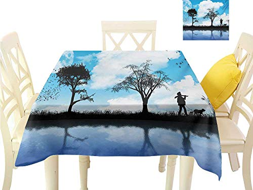 Angoueleven Thanksgiving Tablecloth Nature,Man with The Dog Walking by The Lake with Tree Reflection Moon Sky Print,Sky Blue Black White Washable Tablecloth Dinner W 54