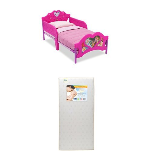 Delta Children 3D-Footboard Toddler Bed, Disney Princess   with Twinkle Stars Crib & Toddler Mattress