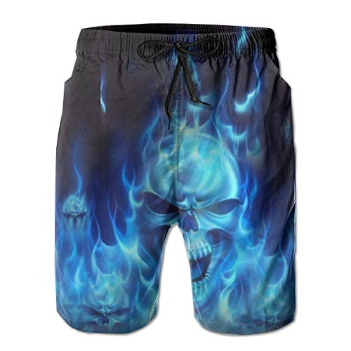Mens Classic-Fit Swim Trunks for Beach Outdoor Surf Full Elastic Waist Quick Dry Adjustable Drawstring Board Shorts Summer Sportwear - Skull Blue Flame