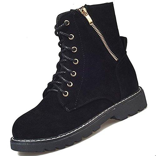 tonda combattere tallone scarponi Scarpe donna Nero Calf punta per Cashmere Stivali Stivali Casual Black Chunky HSXZ Mid inverno qvIHwv8