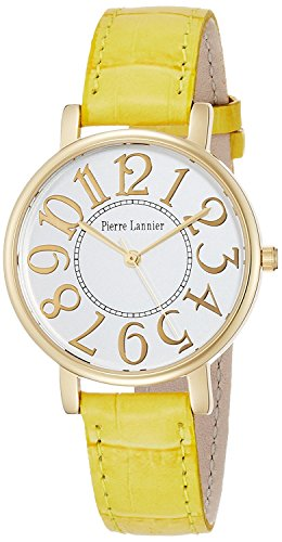PIERRE LANNIER watch Bonheur Big Face Watch Croco Press yellow P471A500 C81 Ladies