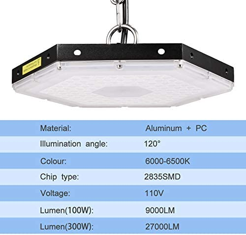 Led High Bay Lighting 100w 9000 Lumens Honeycomb High Bay Light Daylight White 6000k Mining Lamp Waterproof Ip65 Hexagon Hanging Chain Light For Warehouse Industrial Commercial Lighting Amazon Com