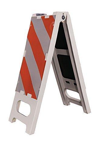 Cortina 97-01-006 Polypropylene Vertical Folding Barricade, 12'' Width x 44'' Height, Orange on White (Pack of 2)