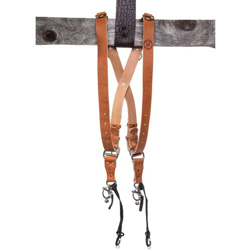 HoldFast Gear MoneyMaker Two-Camera Harness without D Rings on Shoulders, Bridle Leather, Medium, Tan