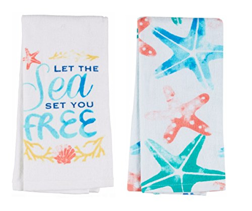 Summer Fun Coordinating Cotton Dishtowel Sets of 2 Tea Towels (Sea Starfish)