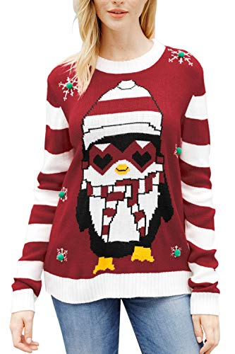 Viottiset Women's Ugly Christmas Knitted Sweaters Pullover Jumpers M Red Penguin -