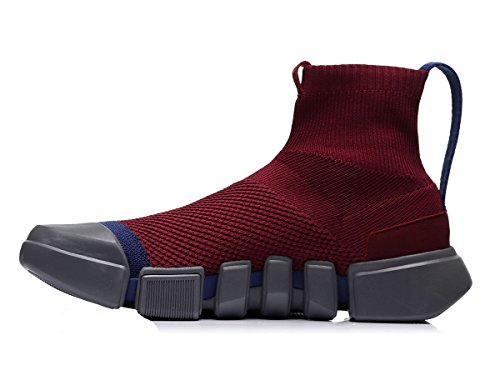 LI-NING NYFW Wade Essence Men Breathable Lightweight Basketball Culture Shoes High Top Knit Sports Sock Shoes Red ABCM113 US 9.5