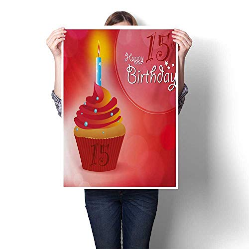 15th Birthday Wall Art Canvas Prints Yummy Graphic Style Cupcake with Candlestick Stars Warm Ceremony Ready to Hang for Home Decorations Wall Decor 24