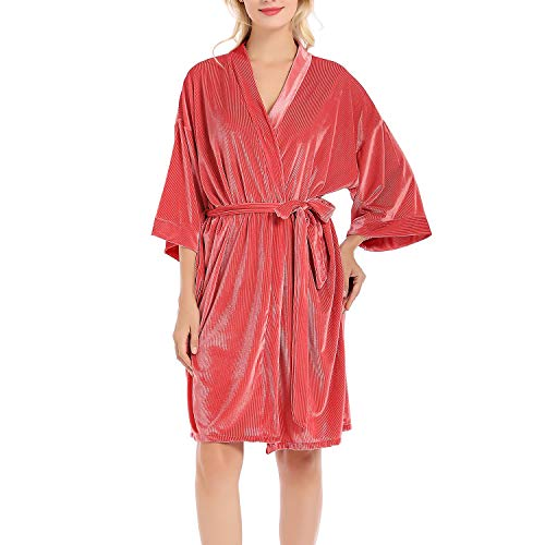 Lu's Chic Women's Velvet Kimono Robe Short Luxury Loungewear Bridal Wedding Paty Bathrobe Pink US XL/2XL (TagXL)