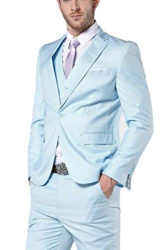 (Men's Slim Fit 3 Piece Dress Suits Prom Dress Suit Set US Size 38 (Tag Asian Size XXL) Light Blue)
