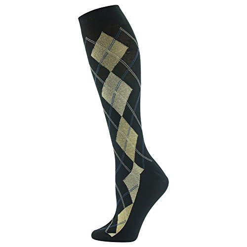 Wedding Groom Socks, SUTTOS Men's Women's Knee High Fashion Custom Elite Yellow Black Argyle Fun Pattern Knee High Over Calf Crew Trouser Socks Suit Socks Mother's Day Father's Day Gift - Black Calf Footwear Custom