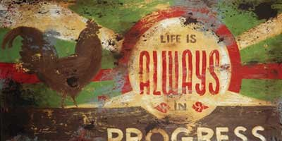 Life Is Always In Progess by Rodney White. Size 48.00 X 24.00 Art Poster Print on Canvas