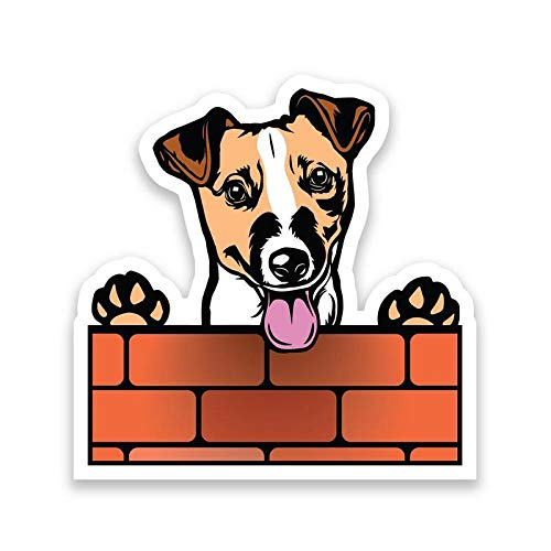 More Shiz Jack Russell Terrier Dog Peeking Over Wall Vinyl Decal Sticker - Car Truck Van SUV Window Wall Cup Laptop - One 6.5 Inch Decal - ()
