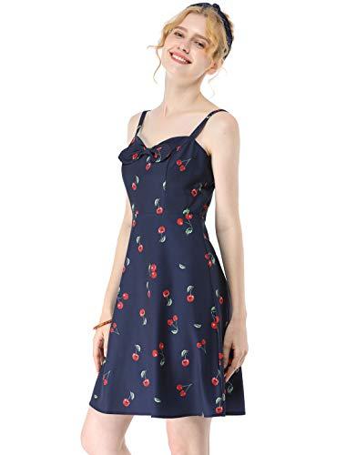 Allegra K Women's Cherry Print Dress Spaghetti Strap Retro Mini Summer Sundress S Navy Blue
