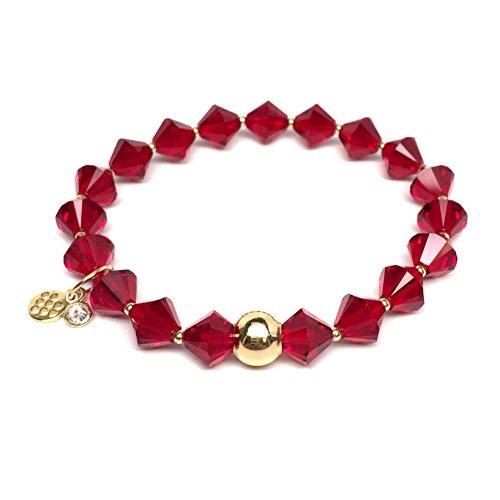 (TFS Jewelry January Birthstone Color, Deep Red Swarovski Crystal 'Rachel' Stretch Bracelet)