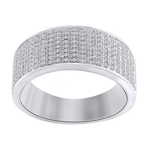 Trillion Jewels 0.48 CT Round Cut Diamond in 14K White Gold Fn Mens Wedding Ring - Ring Men Round Diamond