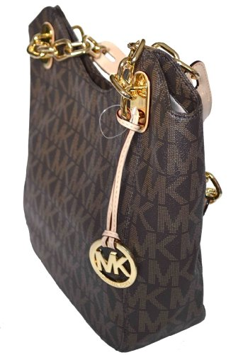 9c4b59758af13d Michael Kors Brown MK Signature PVC Lilly MD Shoulder Tote Bag Handbag Purse