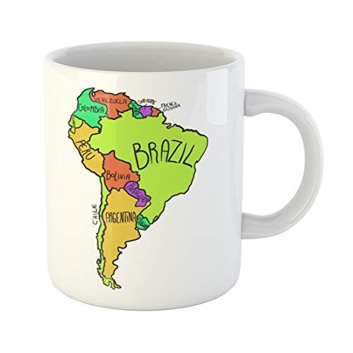 Semtomn Funny Coffee Mug Colorful Travel Cartoon Map of South America Bolivia Brazil 11 Oz Ceramic Coffee Mugs Tea Cup Best Gift Or -