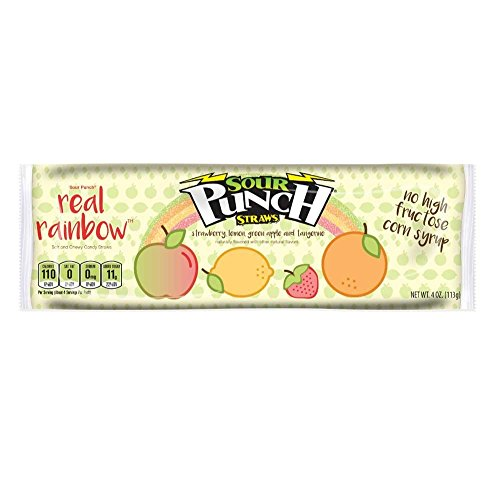 Sour Punch Real Rainbow Sour Straws, 4oz Tray (24 - Sourest Candy Most
