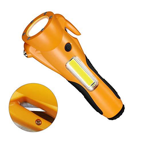 XBRN 6 in 1 LED Flashlight Car Safety Hammer Seat Belt Cutter Alarm Lamp Kit for Cars Emergency Safety Tool Life Saving…