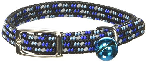 Coastal Pet Products CCP7721BLU Li'l Pals Elasticized Reflective Adjustable Kitten Safety Collar with Bells, Blue