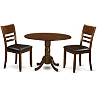 East West Furniture DLLY3-ESP-LC 3 Piece Dublin Dinette Table With 2 Drop Leaf 9 And Two Leather Seat Kitchen Chairs In Espresso Finish