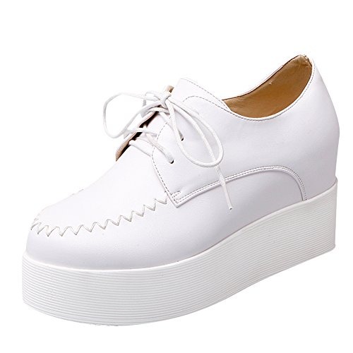 Latasa Mujeres Platform Dentro De Wedges Oxford Zapatos Blanco