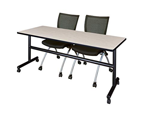 (Regency MKFT7230PL09BK and 2 Apprentice Nesting Chairs Flip Top Mobile Training Table 72)
