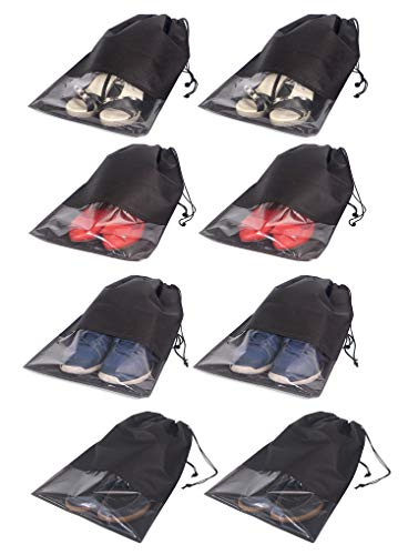 8 PCS Shoe Bags for Travel Non-Woven Large Shoes Pouch Storage Organizer with Rope for Men and Women Black